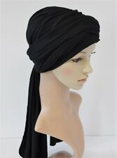 Black turban, volume turban hat, chemo head wear, black turban with long ties