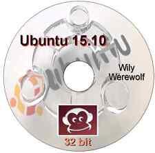 Ubuntu 15.10 32 bit  Live/Install DVD LibreOffice, Firefox, Thunderbird Linux OS