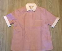 Ladies red white stripe blouse shirt top uniform barber hairdresser etc Size 16