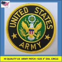 """US ARMY EMBROIDERED PATCH IRON-ON SEW-ON 3"""" ROUND APPLIQUE - HIGH QUALITY"""