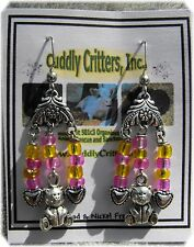 Tibetan Silver Teddy Bear Dangle Earrings Made in the USA  - Pink & Yellow