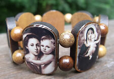 NEW CATHOLIC BROWN SEPIA MARY JESUS PICTURE TILE BRAZIL WOOD STRETCH BRACELET