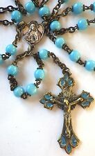 ⭐ VINTAGE DECO GLASS ROSARIES ✞ MARIAN ROSARY CELTIC CRUCIFIX ☧ HANDMADE BEADS
