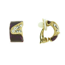 STUNNING 18K YELLOW GOLD PLATED GENUINE AUSTRIAN CRYSTAL PURPLE CLIP-ON EARRINGS