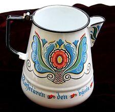 Large Vintage Rosemaled Enamelware Coffee Pot or Pitcher Scandinavian