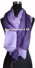 New Shaded 100% Pure Silk Oblong Scarf Shawl Wrap, Shaded Purple