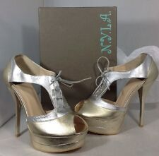 NEW NY LA High Heels Women's Shoes Size 8 Gold Silver Open Toe Lace Up Platform