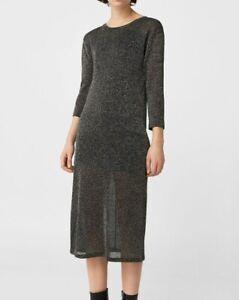 Mango Metallic Knit Dress Straight Cut 3/4 sleeves Lined NWT size S, AU8 (mng11)