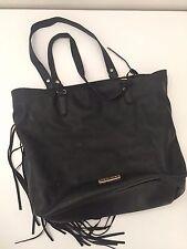 Steve Madden Black Fringe BSaloonn II Tote Purse Handbag Shoulder Bag Boho Hobo
