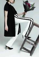 ROBERTO CAVALLI Slim Leg White Black Stretch Crepe Tuxedo Pants 46 US 10 NWT