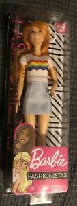 Barbie Fashionistas Doll #122 Rainbow T-shirt Skirt Redhead Deluxe Exclusive NEW