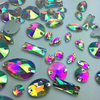 Sew On Mixed Shapes Sizes Crystal AB Rhinestones Flat back Crystals Glass  Strass 92fd531e6a4a