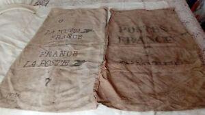 RARE Lot de 2 grand sac la poste en toile de jute  Dim. 112 x 67 et 103 x 65