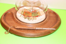 Vintage Goodwood Cheese & Cracker Tray W-Knife Wood Clear Glass Dome Japan