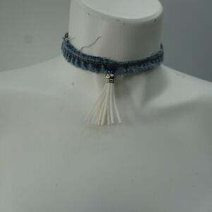 Denim Choker White Leather Rhinestone Tassel Trim Necklace One Size Blue Jeans
