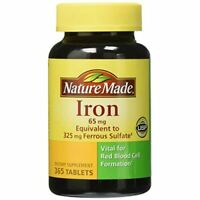 Nature Made Iron 65 Mg. Vitamin Pills Supplements Ferrous Sulfate 325 mg 365 Tab
