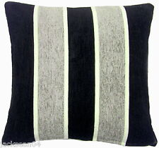 "2 X FILLED SILVER BLACK CREAM STRIPE CHENILLE 18"" THICK CUSHIONS"