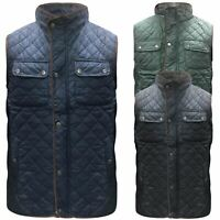 Mens Bodywarmer Pipping Quilted Body Warmer Jacket Diamond Quilt Gilet M-3XL