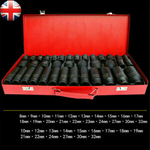 "35X 1/2"" Deep Reach Impact Sockets Set Metric Drive Garage Workshop Tool 8-32mm"