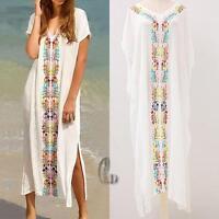 AU SELLER Oversize Cotton Embroidery Kaftan Kimono Beach Dress Cover UP sw073
