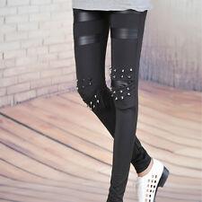 Fashion femmes genou Punk de rivets Spike en Faux cuir Patch Leggings pantalon
