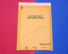 "14 KRAFT BUBBLE LARGE PADDED MAILING ENVELOPES #4 9.5""x14.5"" ~ MADE IN THE USA"