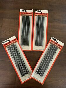 """4x Tyco HO Scale Tru-Steel 9"""" Straight Track 4 Pieces #417 New Sealed In Package"""