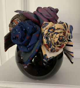 Vintage Curated Mens Ties Floral Arrangement In Vase Father's Day Birthday Gift
