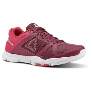 Reebok Womens Yourflex Trainette Pink Berry White Running Shoes Sneakers Sz 7.5