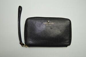 Kate Spade Black Leather Zip Around Wristlet Wallet