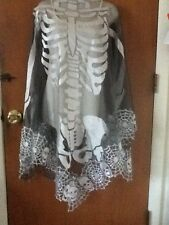 HERITAGE LACE SILVER AND BLACK SKELETON/ SKULLS HALLOWEEN CAPE/PONCHO ITEM A1