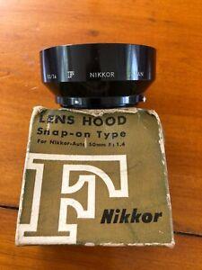 Nikon F Nikkor Lens Hood Metal Mint Box VTG F:1.4 Nippon Japan Snap-on 50mm Auto