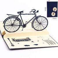 3D Pop-Up Cards Bicycle Bike Happy Birthday Christmas Greeting Card Handmade US