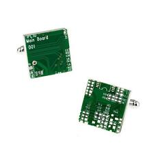 CIRCUIT BOARD CUFFLINKS Computer Nerd Tech Geek Green w GIFT BAG Wedding Groom