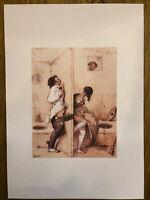 """Erotisches Aquarell Paul Gavarni 1804-1866 """"Das Astloch"""" Sex sur les Toilettes"""