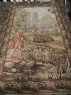 """Tapestry Wall Hanging Victorian style vintage comes w/ wood rod 1950-is 33""""x 20"""