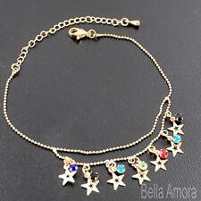 Gold Tone Multi Coloured Crystal Gems Star Anklet Ankle Chain Bracelet New -122