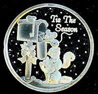 2002 1 oz .999 Fine Silver • Tis The Season Christmas Art Round