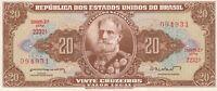 Vintage Brazil 20 Cruzeiros AU/UNC Banknote 1962 Pick 178 Thomas De La Rue Crisp