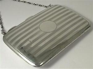 """Antique Sterling Silver Card Case / Purse (4 1/8"""" x 3"""") – Hallmarked 1912 (79g)"""