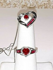 LAB CREATED RUBY &  WHITE SAPPHIRE- RING- SIZE 7 -  & PENDANT -STERLING SILVER