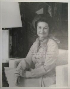 An Over-sized Lady Bird Johnson Signed Black-and-White Photograph (c. 1981)