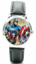 Captain America Character With Shield Genuine Leather Band Wrist Watch
