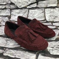 Born Charen Women's Burgundy Suede Slip On Tassel Loafer Shoes Size 10 M