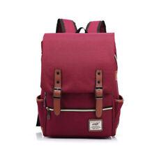 US Women Mens Canvas Backpack School Laptop Travel Rucksack Satchel Shoulder Bag Red