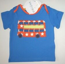 Bebé Niño Edad 3-6 Meses Manga Corta Camiseta m&s NUEVO Azul Bus Algodón