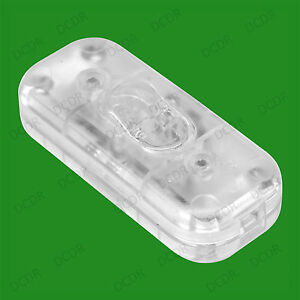 Transparent 3 Core In line Lighting Lamp Rocker On Off Switch, 110 to 250V, 2A