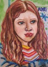 Max Mayfield Sadie Sink ACEO 2.5 x 3.5 Original Painting Stranger Things Fan Art