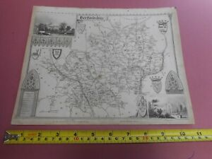 100% ORIGINAL HERTFORDSHIRE MAP BY MOULE C1848 VGC ST ALBANS WARE ROYSTON