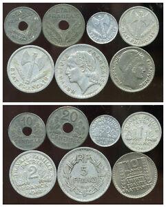 FRANCE FRANCIA WW2 lot de 7 monnaies    ( etat )